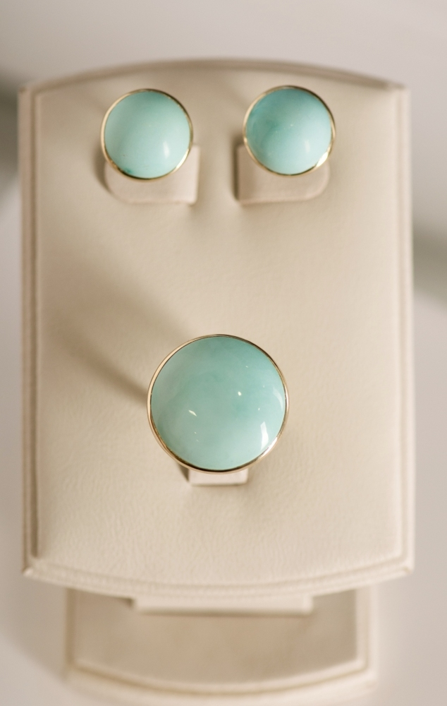 Vivid Blue Turquoise Yellow Gold Stud Earrings