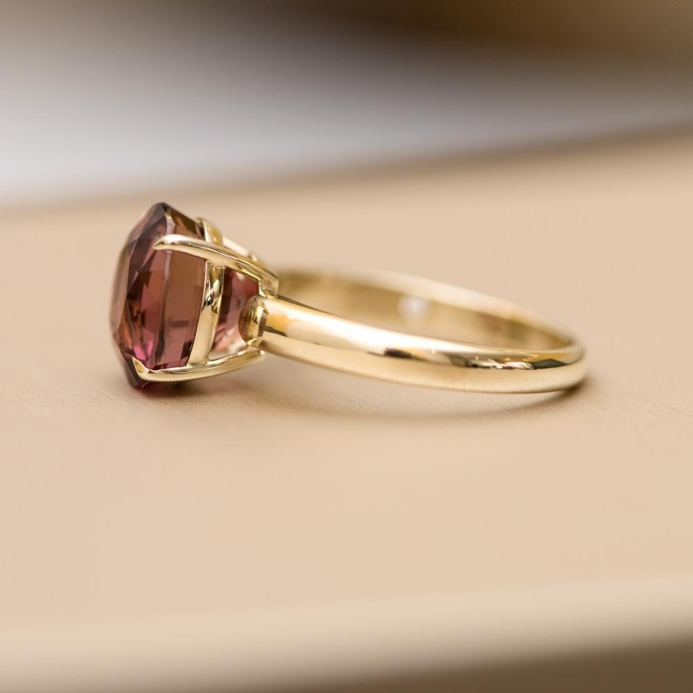 5.4 Carat Bordo Tourmaline 14 Karat Yellow Gold Ring