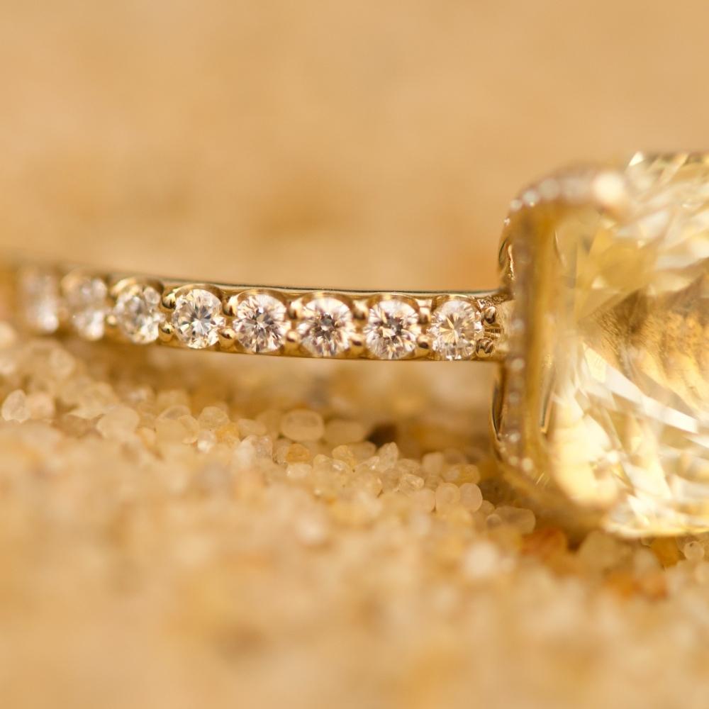 Yellow Sapphire and Diamonds Ring