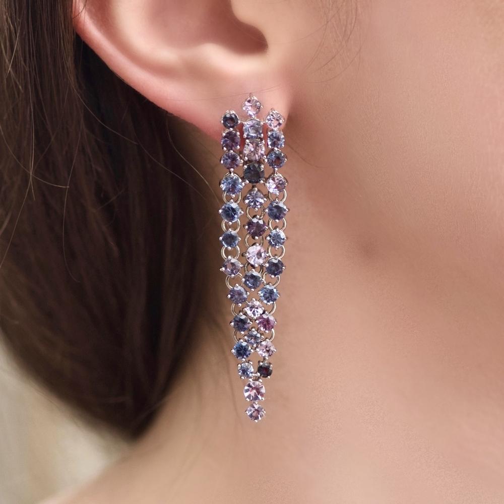 Natural Spinel 14 Karat White Gold Earrings