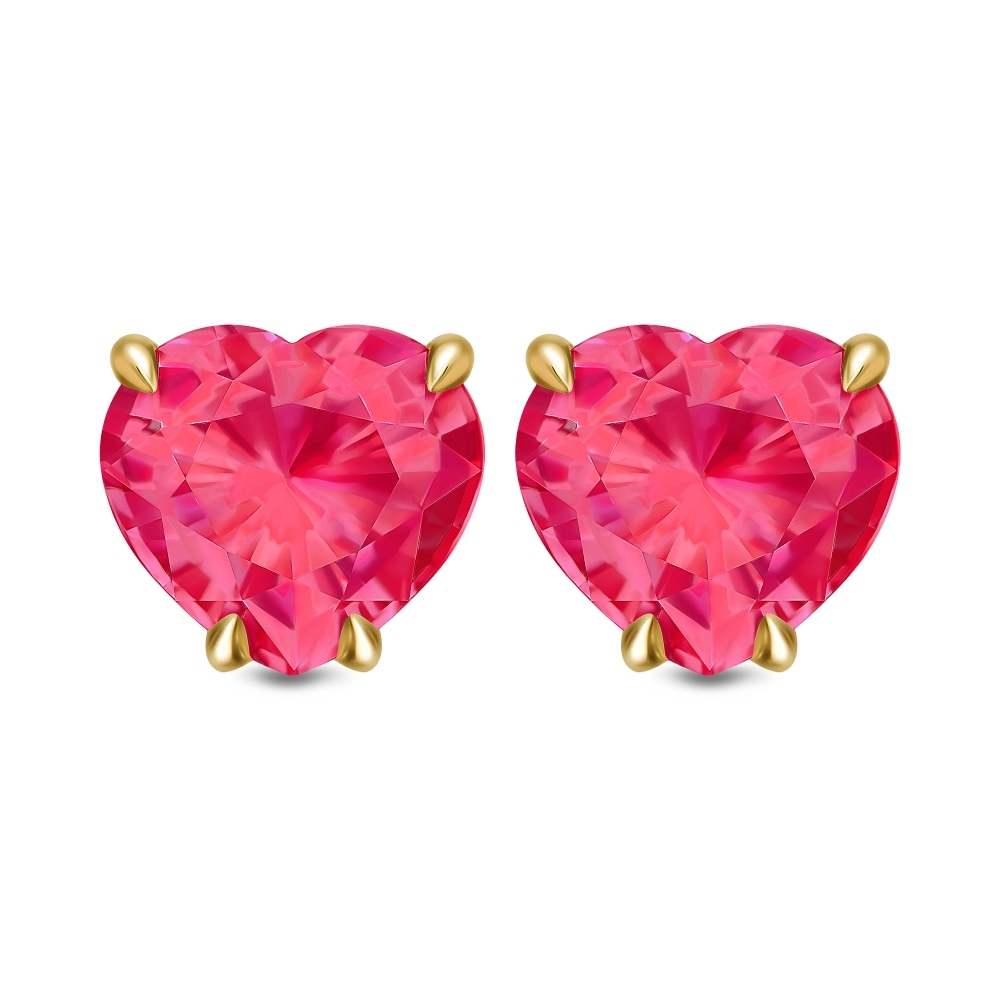 Vivid Pinkish-Red Ruby Gold Stud Earrings