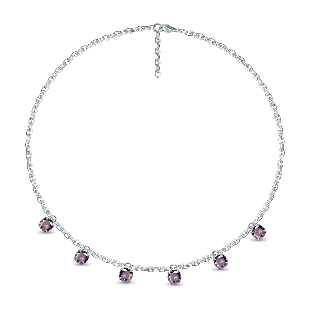 Lilac Spinel Pendants White Gold Necklace