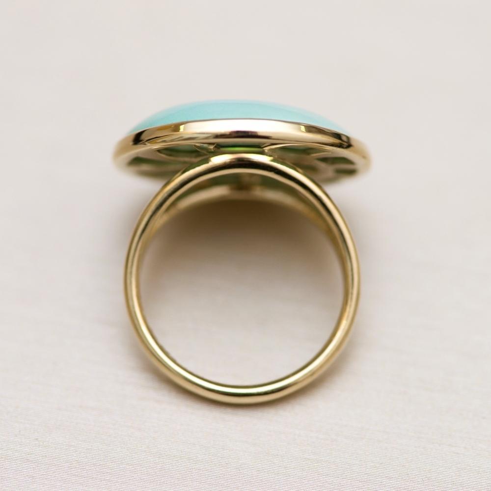 Кольцо с бирюзой в желтом золоте
