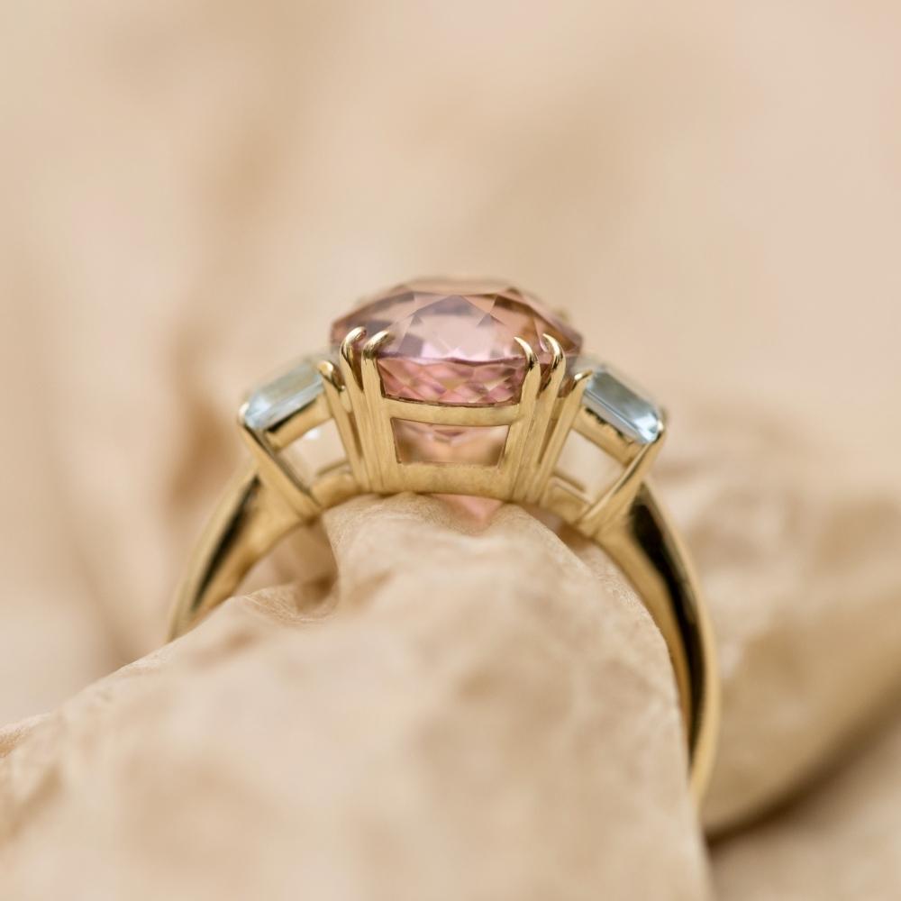 Pink Tourmaline and Aquamarine Yellow Gold Ring