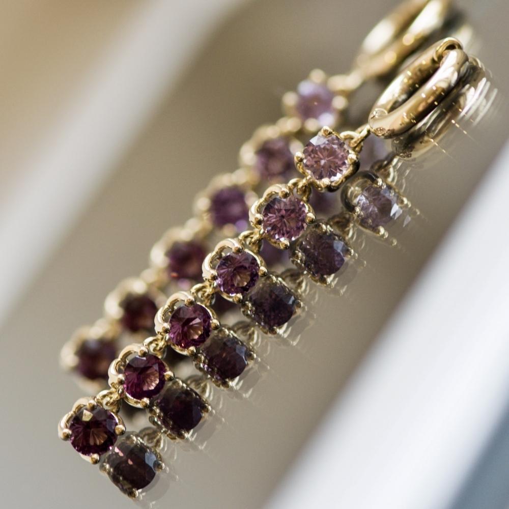 6.5 Carat Natural Lilac Spinel 14 Karat Yellow Gold Hoop Earrings
