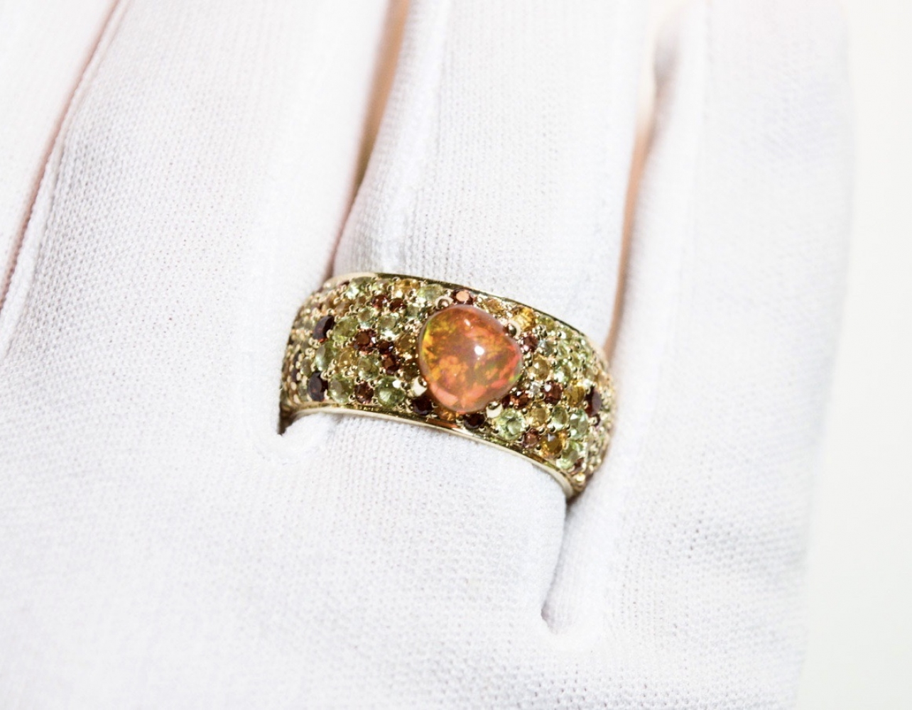 Mexican Fair Opal Yellow Gold Cocktail Ring