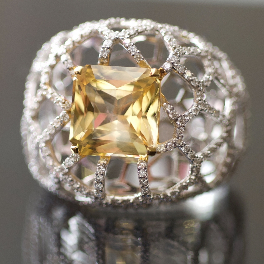 Yellow Sapphire and Diamonds White Gold Cocktail Ring