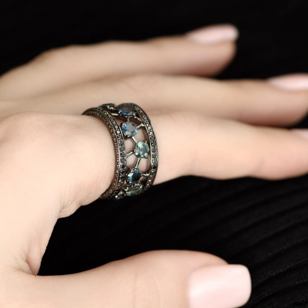 4.2 Carat Bi-Color Marriage Sapphire 14 Karat Gold Cocktail Ring